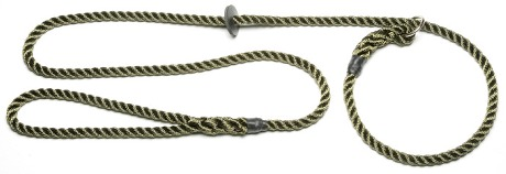Rope gundog lead with rubber stop