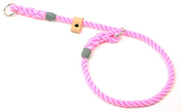 Rope dog slip collar with sliding leather stopper